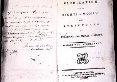 Manuscrito da obra de Mary Wollstonecraft, Em defesa dos direitos da mulher.| Reprodução: Wikimedia Commons