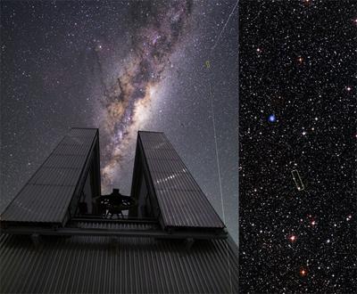 Telescópio NTT e a estrela ultra pobre em metais 2MASS J18082002-5104378. Foto: ESO/Beletsky/DSS1 + DSS2 + 2MASS